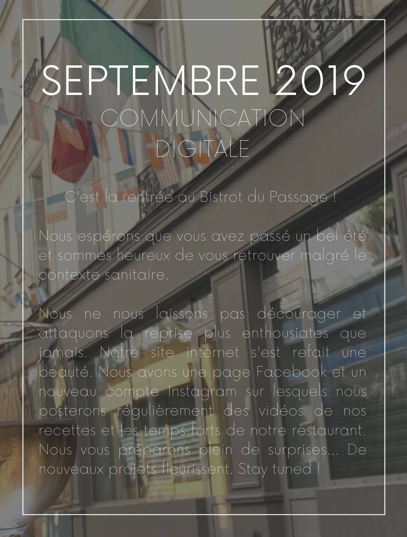 septembre communication digitale Instagram Facebook projet restaurant Paris Batignolles